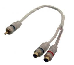 1R PLUG TO 2R JACKS, 20CM Y-ADAPTOR CABLE (6 in)