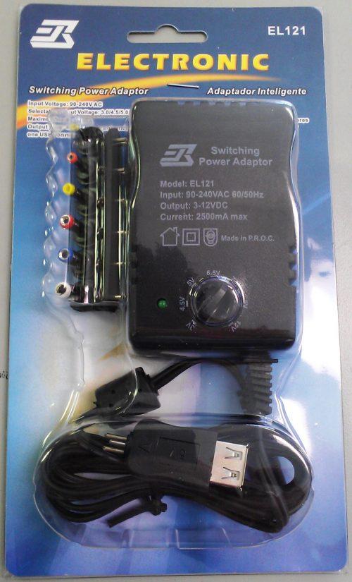 AC/DC ADAPTOR 2500ma WITH USB 90-240 Vca.