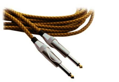 10 fT INSTRUMENT CABLE 1 COND + SHIEL PVC MESH JACKET 1/4 MALE PLUGS GOLD PLATED SHAFT
