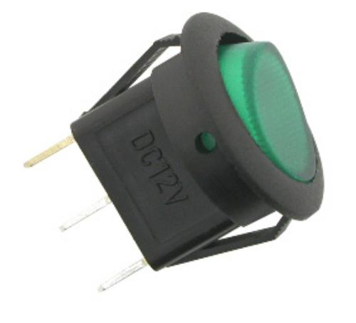 12V-20A DC ROUND SWITCH GREEN