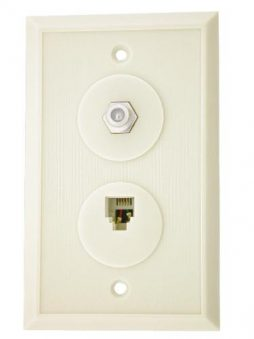 4C WALL PLATE W/F81 WHITE