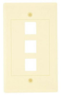 KEYSTONE WALL PLATE 3 HOLE WHITE