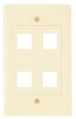 KEYSTONE WALL PLATE 4 HOLE WHITE